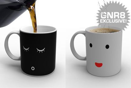 "Cute.  Mug ""wakes"" up as your pour a hot drink (say, coffee?) into it.: Coff Mugs, Hot Coffee, Cups, Gifts Ideas, Mugs Design, Hot Drinks, Wake Up, Mornings Coff, Coffee Mugs"
