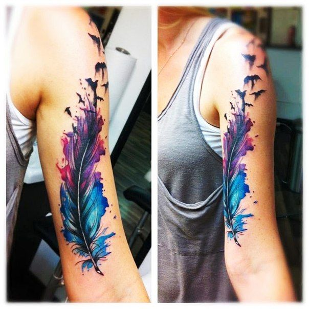 Акварельные татуировки | 250 фотографий