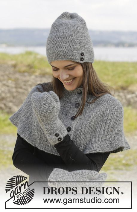 """Knitted DROPS neck warmer, hat and mittens in garter st in 2 strands """"Alpaca"""". ~ DROPS Design"""