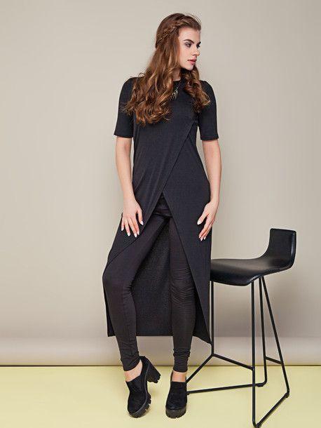 #Asymetryczna oryginalna tunika #czarnatunika- Sarafany, tuniki | Odzież damska THE COVER  #jesień2016 #modnakobieta #bluzka #długatunika