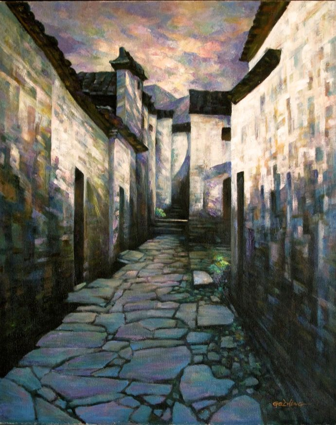 Paintings Of Cobblestone Paths : Images about oil landscape paintings by gq zheng on