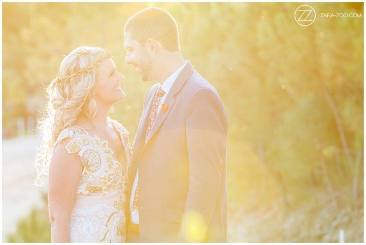 Wedding couple photos, bride & groom, sun flair. Wedding at Old Mac Daddy. ZaraZoo Photography