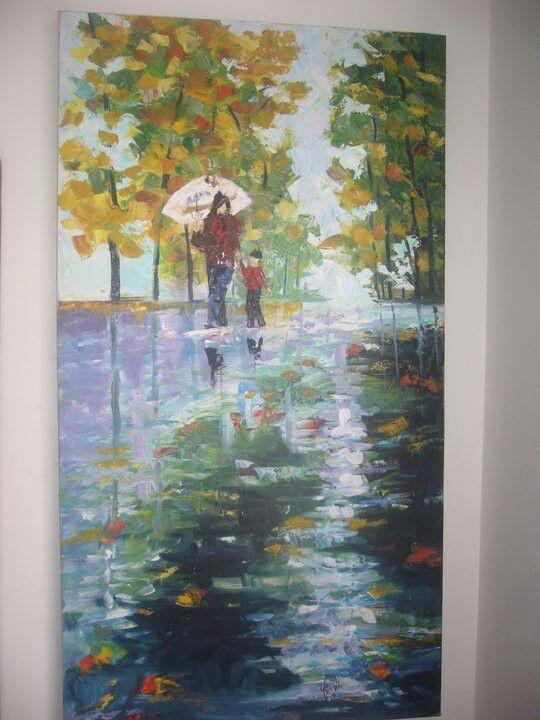 Reflejo, cuadro sobre lienzo, trabajado con espátula en óleo,  es una copia del reconocido pintor Leonid Alfremov.