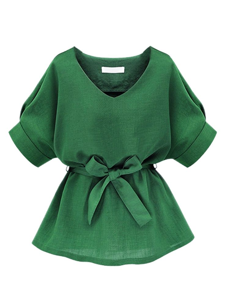Green V Neck Bow Tie Short Sleeve Blouse
