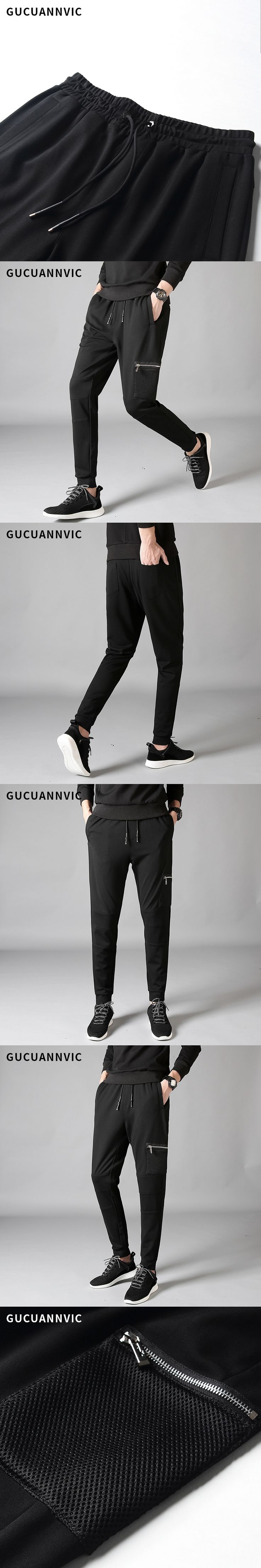 2017 elastic waist harem pants men fashion hip pop joggers trousers pocket zippers loose fitted all-match casual black pants