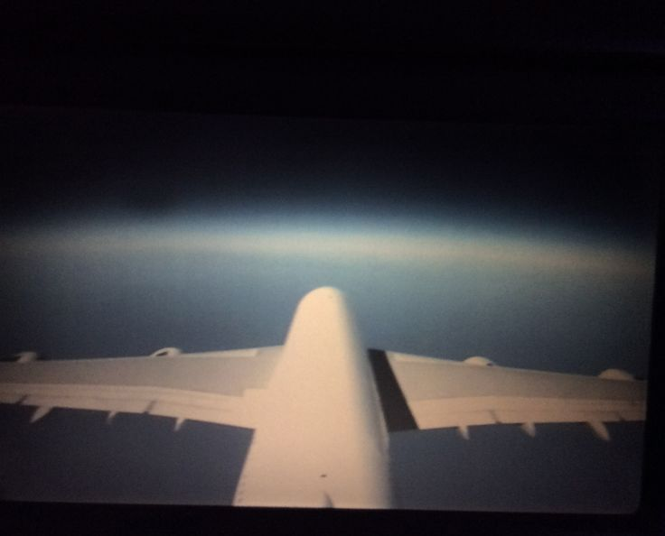 Qantas A380-842 (VH-OQD) Fergus McMaster tail camera view in flight somewhere over the Pacific