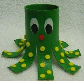 Octopus, paint a toilet paper roll and then cut and decorate, 1st or 2nd grade