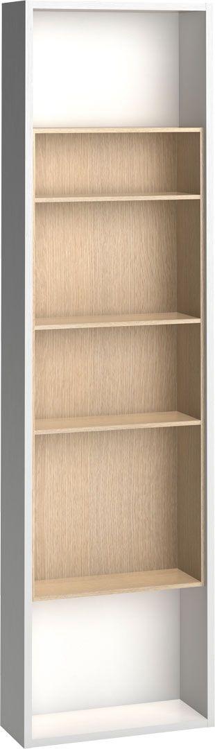 Cechy i korzyści: Funkcjonalne półki na książki, podręczne rzeczy. Dekoracyjna dębowa wnęka. Regał łatwo przymocujesz do dostawianego mebla. Dodając go do szafy 4–drzwiowej, zwiększasz przestrzeń do ...