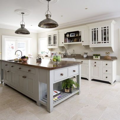 farrow and ball french grey kitchen cabinets | This painted free standing style kitchen is comprised of 4 key design ...
