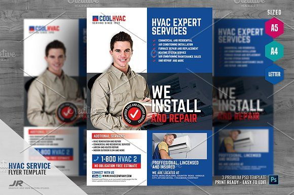Heating And Cooling Hvac Flyer In 2020 Flyer Hvac Services