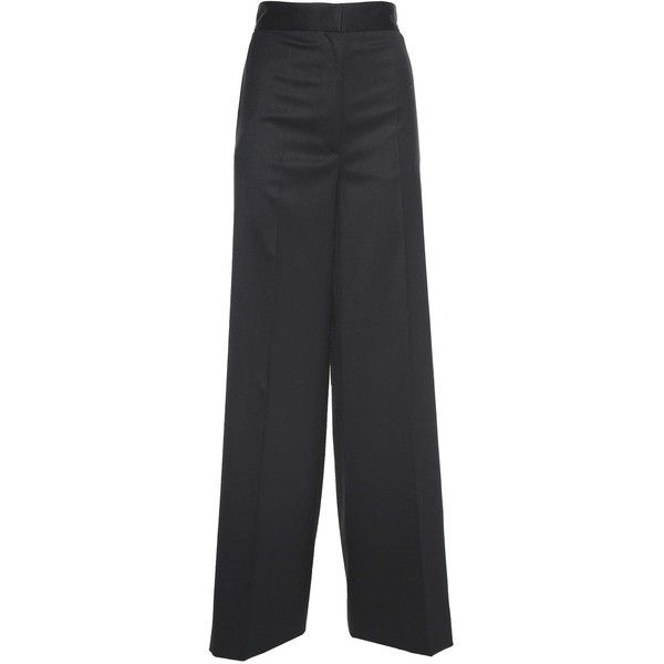 Faux Pearl Embellished High Waist Twill Trousers (1.610 BRL) ❤ liked on Polyvore featuring pants, nero, twill trousers, embellished pants, highwaist pants, button pants and pleated front pants