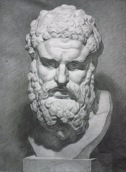 Академический рисунок гипсового слепка головы Геракла Фарнезе