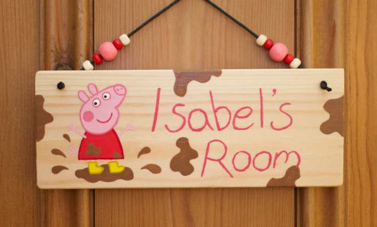 Peppa Pig or George Pig Personalised Wooden Door or Wall Plaque Super Cute with Mud Splashes