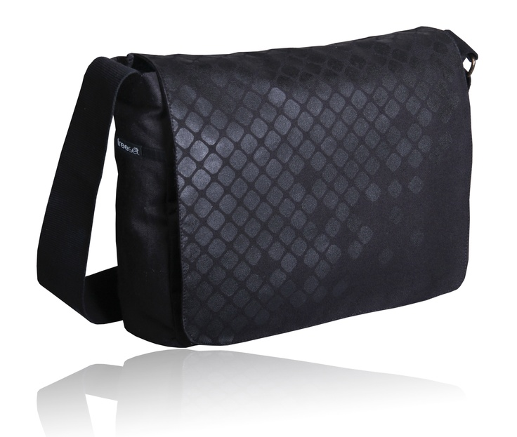 A black cotton-canvas satchel bag. The black-on-black print changes its appearance as the light changes. Very cool! Made by Freeset.
