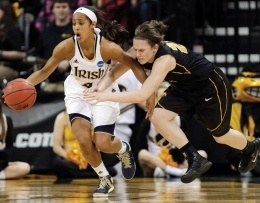 With the help of a career-high 28 points from junior guard Kayla McBride, No. 1 seed Notre Dame sprinted past No. 9 seed Iowa in Iowa City on Tuesday to win 74-57 and to advance to the Sweet 16.