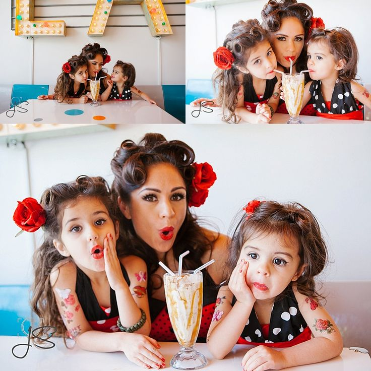 mother and daughter pinup themed portrait session at Shake Shake Shake in Tacoma, Washington by Jenny Storment Photography