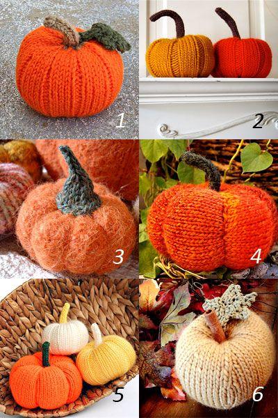 Pumpkin knitting patterns for autumn. Find 6 knitting patterns for pumpkins. free patterns from Ravelry