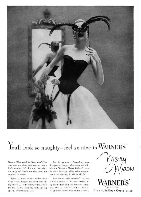 1950s vintage WARNERS Merry Widow NAUGHTY/NICE GIRL Corset Lingerie Garter MASK Ad