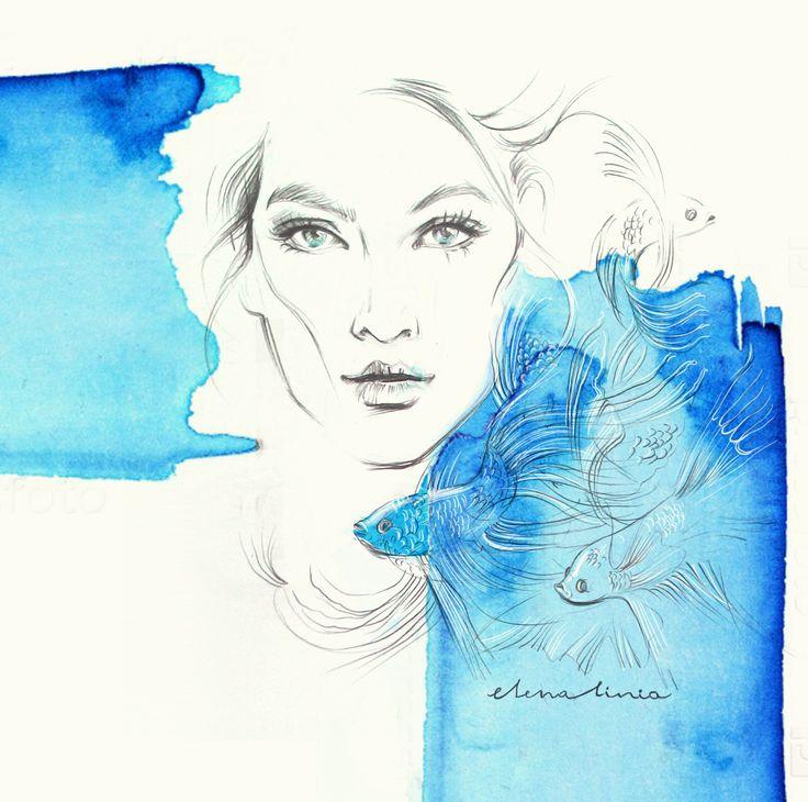 illustration by Elena_linia #illustration #watercolor #fashionart