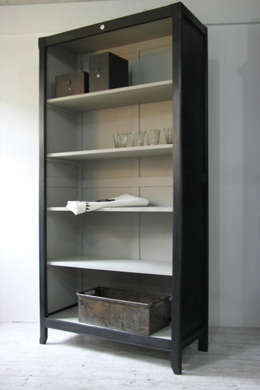 Gorgeous color bookshelf unit. Black chalk paint or a matte black with light color interior!