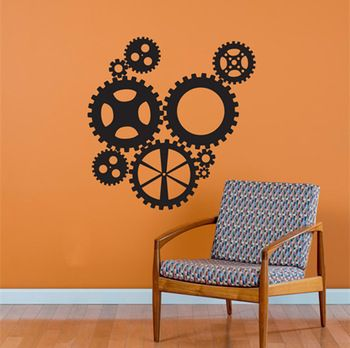 Стимпанк промышленные передач коллекция мода гостиная винил резьба по дереву стены стикера этикеты для дома декор окна