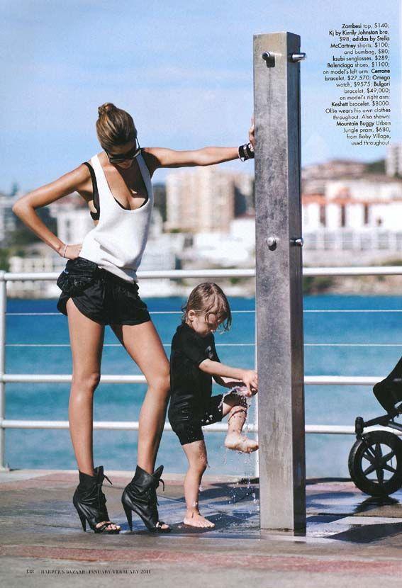 running shorts and high heels  Australian Harpers Bazaar