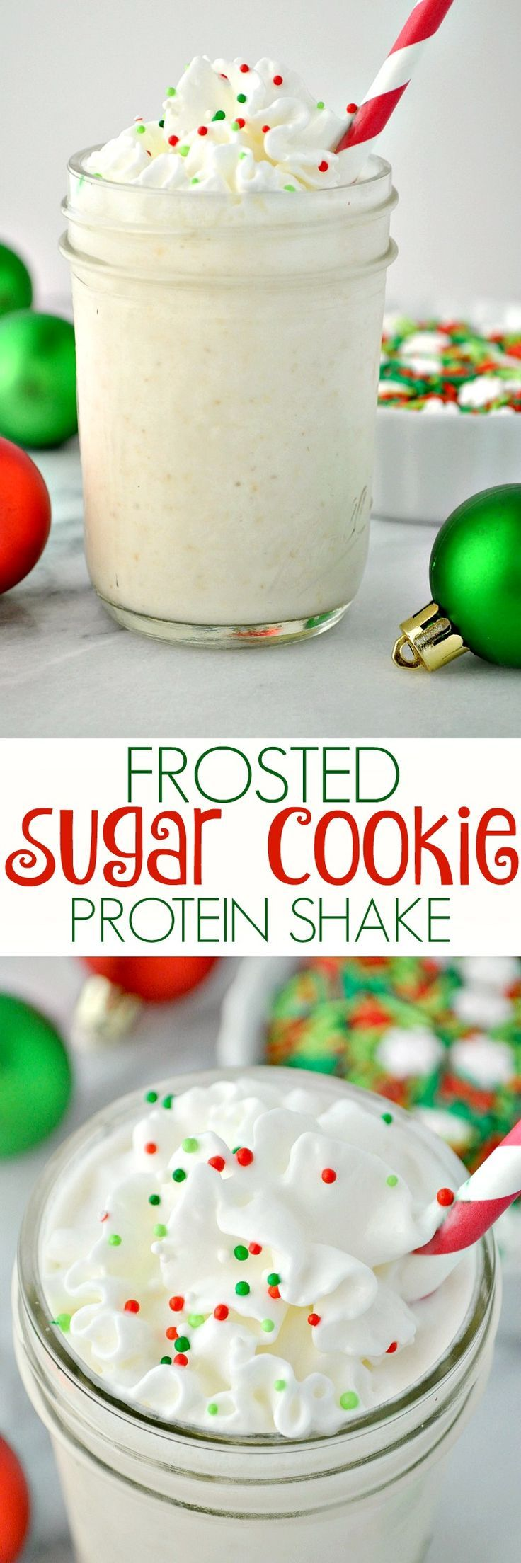 Celebrate the tastes of the season with a Frosted Sugar Cookie Protein Shake! It's a healthy breakfast, snack, or dessert to power you through the holidays!