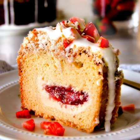 Strawberry Cream Cheese STUFFED Sour Cream Coffee Cake