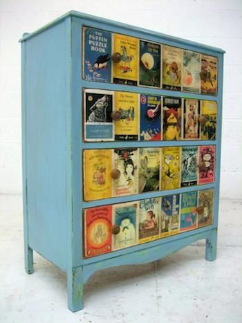 Upcycled chest of drawers using a distressed technique on wood and vintage book covers decoupaged onto drawers. #vintage #retro