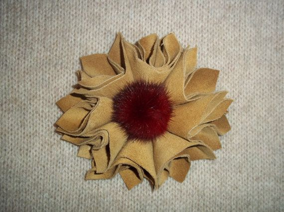 Blonde real suede leather flower with red fur ball by TzoFeltGood, €55.00