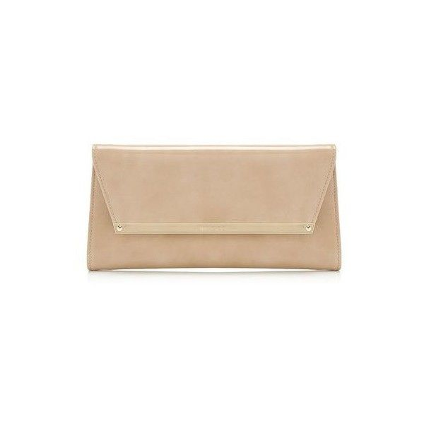 Jimmy Choo MARGOT Nude Patent and Suede Clutch Bag (885 CAD) ❤ liked on Polyvore featuring bags, handbags, clutches, patent leather purse, chain strap handbag, beige clutches, jimmy choo clutches and nude purses
