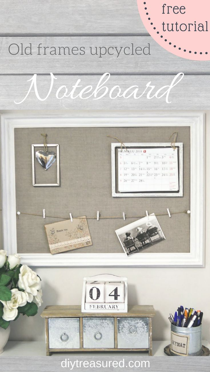 Upcycle old frames into a noteboard! This is so beautiful! Free tutorial  | diy | chalk paint | repurpose | upcycle | linen | burlap | jute twine | mini clothespins | frames | push pins | thumb tacks | farmhouse | romantic | decor | shabby chic | decor ideas on a budget | thrifty | thrift store | thrifted | diy decor | #farmhouse #linen #homedecor #diy