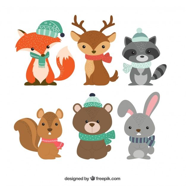 Collection Of Six Winter Animals Winter Animals Cartoon Animals Animals For Kids