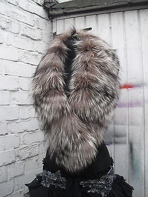 #Recycled #genuine #silver #platinum #fox #fur #scarf #collar #stole #fantastic #condition