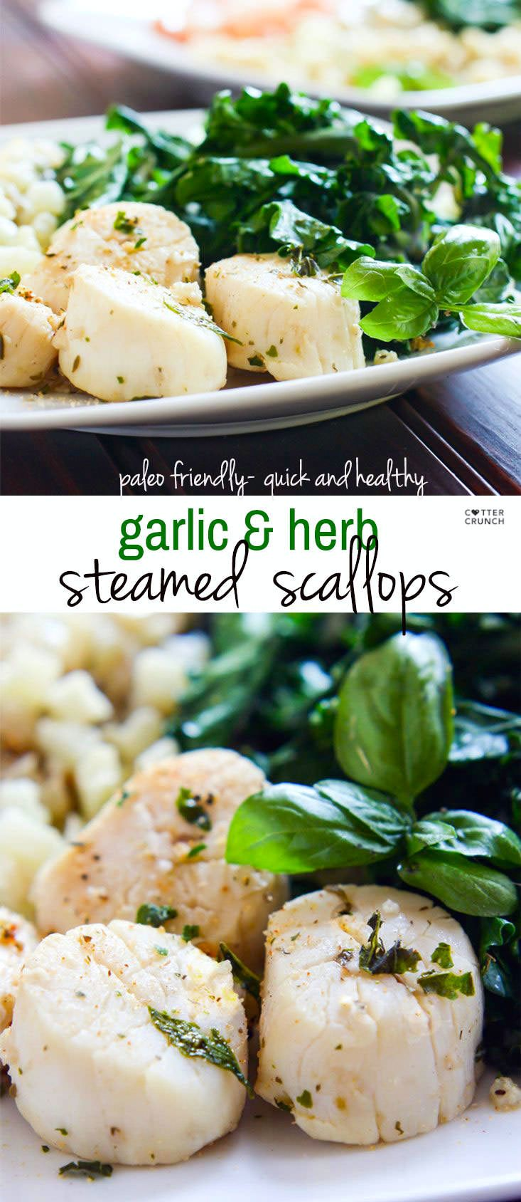 Steamed Garlic Herb Scallops with veggies all cooked in ONE POT! Cooking Scallops can seem intimating for some, but this paleo friendly dish is ready in 10 minutes and is SUPER easy to make. A Healthy Light meal for one or more!