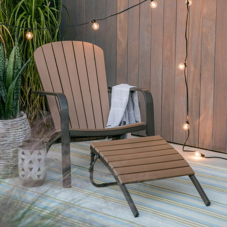 Outdoor Belham Living Paxton All Weather Resin and Metal Adirondack Chair with Ottoman - YXF-1032-1