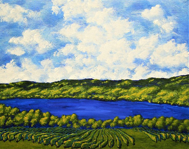 "Seneca Lake (ORIGINAL ACRYLIC PAINTING) 8"" x 10"" by Mike"