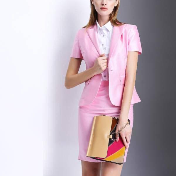 人気レディースファッショントレンドデザインエレガントビジネスオフィスOL上品職場女性社員魅力スリム半袖フォーマルスカートスーツ S53PK_画像1