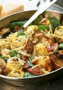 tortellini pousse d'épinard et crouton