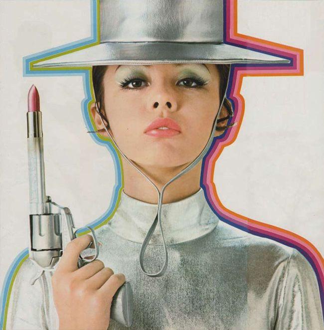 lipstick gun ! 1969 cosmetics ad from the vintage japanese ads post on 50watts blog.