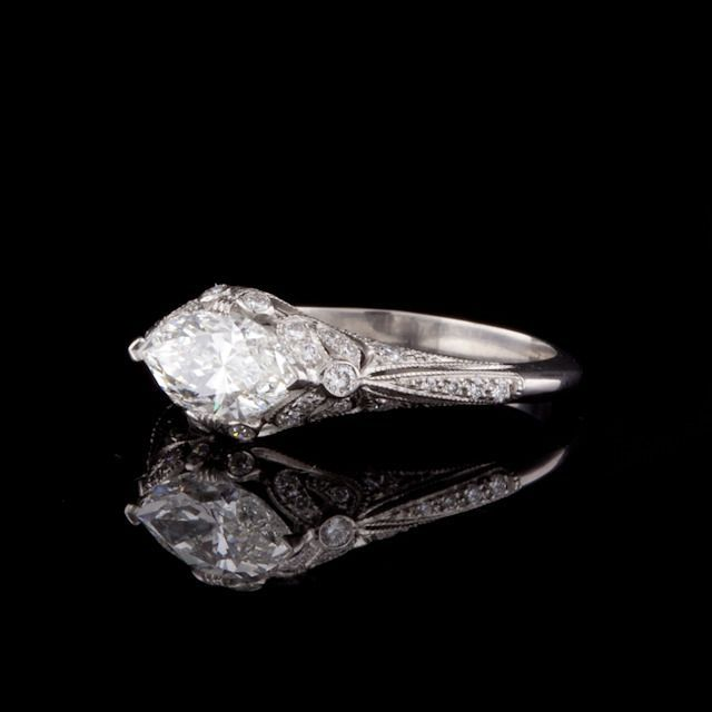 Best Diamond Engagement Rings : Marquise Cut Diamond Ring   From a unique collection of vintage engagement rings