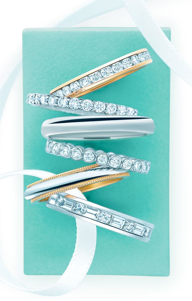 A brilliant match. Tiffany band rings in platinum and 18k gold with and without diamonds. #TiffanyPinterest #WeddingBands