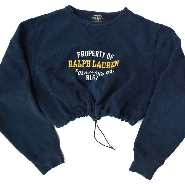 Vintage Reworked RL Polo Sport Crop Sweatshirt (£21) ❤ liked on Polyvore featuring tops, hoodies, sweatshirts, sweaters, crop tops, shirts, cropped sweatshirt, crop top, vintage tops and blue top