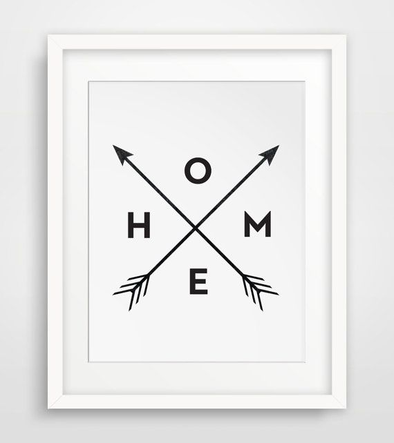 Black and White Home Arrow Print Wall Prints by MelindaWoodDesigns
