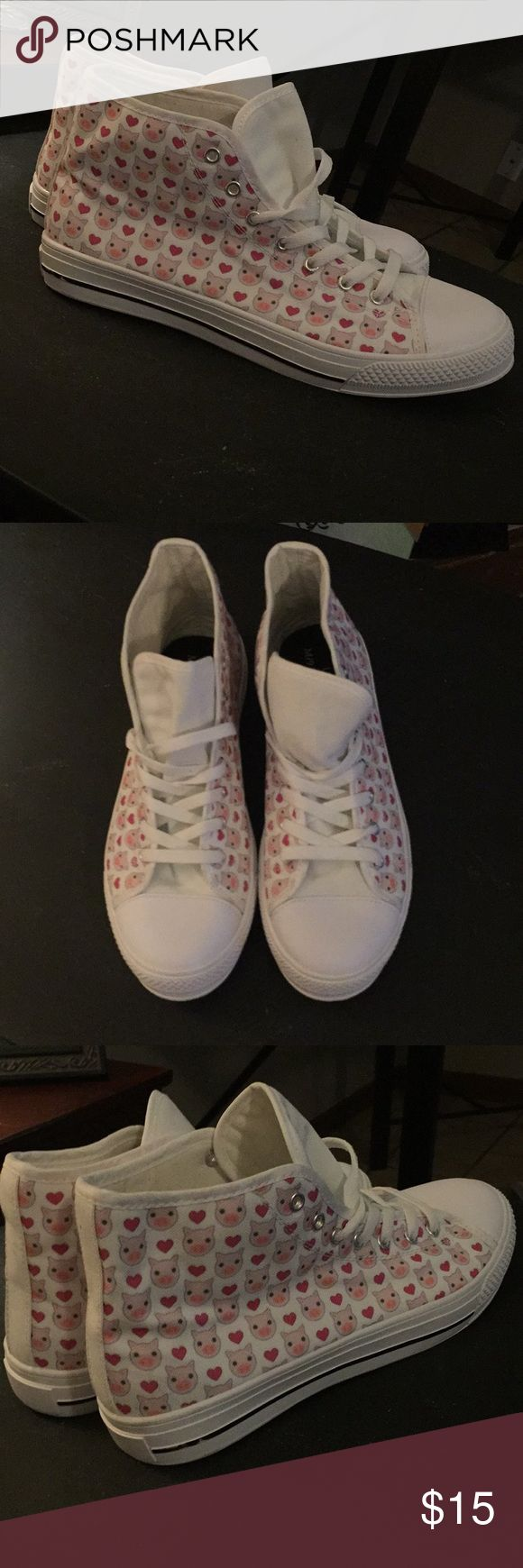 NEW!!!!!  Pig canvas high top tennis shoes. Sz 10 Super cute white with little pigs all over. Like converse in style. ***Due to unplanned medical bills from a recent surgery I had I am downsizing my closets and decor. ASAP to pay things off!!!  There is nothing wrong with anything listed and a lot are brand new.  Please feel free to bundle or make reasonable offers. Thank you for looking at my listings. I appreciate it greatly!!!*** Shoes Sneakers