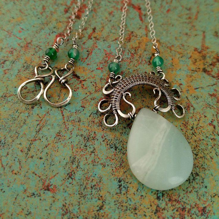 Lyonesse Pendant, Amazonite, Silver Wire Wrapped Pendant, Teardrop Pendant…
