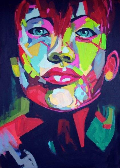 Portret Chinka  malarstwo akryl płotno (proj. DIAMENTOWE by Sysia) de prachtige kleuren springen eruit. hij is echt mooi. gewoon geschilderd denk ik. Hèléna Bouwmeester JAT1D