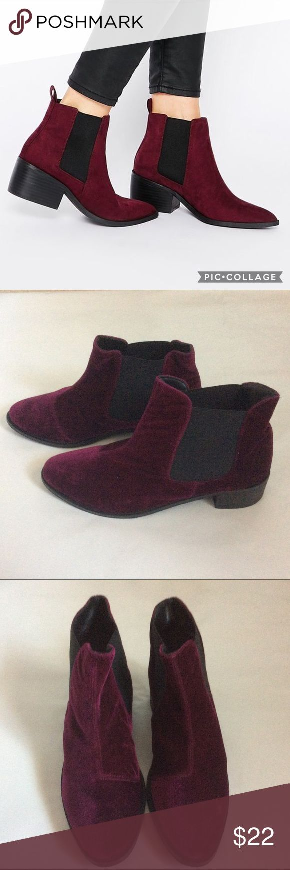 """Maroon Velvet Ankle Boot Maroon velvet ankle boot. GUC. Worn twice and in GUC. Purchased in-house brand from Asos online. I can't quite make out the brand name (see last photo). If you can make out the spelling I'd appreciate if you can tell me what it is, lol. Thanks.😊  1""""Heel. Asos Shoes Heeled Boots"""
