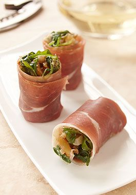 Prosciutto Rolls stuffed with arugula, walnuts