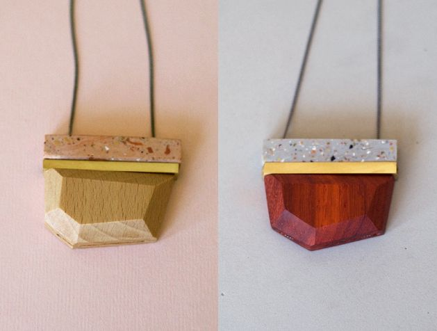 New colours for 2015. Faset pendants in wood, brass and polymer clay.